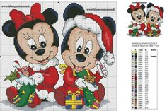 Baby minnie e topolino natalizi schema punto croce Disney Cross Stitch Patterns, Counted Cross Stitch Patterns, Cross Stitch Charts, Cross Stitch Designs, Cross Stitch Embroidery, Xmas Cross Stitch, Cross Stitch Baby, Cross Stitching, Disney Christmas