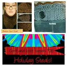 Holiday Steals this week only!!!! Coupon code XMASFREESHIP for free shipping $50.00 or more and coupon code XMAS2014 For 25% off purchase of $30.00 or more. The following items are in stock and ready to ship!!  Purchase today and get an extra 10% off added to the 25% coupon code!   Contact me for details! !!!   (Braided Scarf Regular price $18.00, Rainbow Shawl Regular price $34.00, Blue Boucle Scarf Regular price 28.00, Magenta Confetti Scarf Regular price $15.00, Autumn Infinity Shawl…