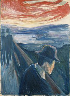 """(munch) """"syk stemning ved solnedgang. fortivelse."""" - 1882"""