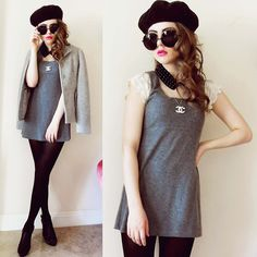 two things iove, bug eye glasses and berets!    FANCY CASUAL (by Bebe Zeva) http://lookbook.nu/look/3304193-FANCY-CASUAL
