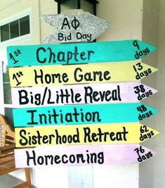 One of the chapters had this in the room during my recruitment! They had events that we do throughout the year on each arrow and the days until that event. Ex: Fiji Bid Day Days*, or Big little reveal Days*. Makes it personal! Sigma Alpha Omega, Alpha Phi Sorority, College Sorority, Phi Sigma Sigma, Sorority Sugar, Pi Beta Phi, Kappa Alpha Theta, Sorority Recruitment, Sorority Life