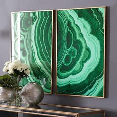 Malachite Wall Art - Verdigris I Wisteria ❤ liked on Polyvore featuring backgrounds