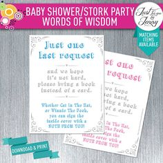Elephant theme BOOK REQUEST CARD insert | new mommy | Printable | Digital by JustForYouByJenny on Etsy Custom Party Invitations, Elephant Theme, Your Word, Wisdom, Printables, Baby Shower, Handmade Gifts, Digital, Words