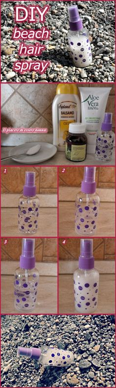 DIY beach hair spray: a little spray bottle, water, sea salt, coconut oil (or argan/jojoba/olive oil), hair conditioner, aloe gel (or hair gel), coconut fragrance
