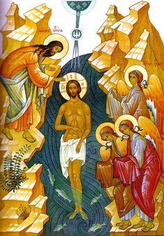 Religious Icons, Religious Art, Baptism Of Christ, Jesus Christ, Roman Church, Russian Icons, Byzantine Icons, Orthodox Christianity, Mosaics