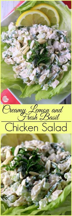 Creamy Lemon and Fresh Basil Chicken Salad by Renee's Kitchen Adventures - Healthy chicken salad recipe with lemon and fresh basil. Fresh and delicious flavors for lunch, brunch or a light dinner.