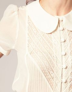 feminine lace inset blouse with button front and peter pan collar: