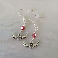 Valentine's Day Winged Heart and Crystal Earrings by TrialByStone on Etsy