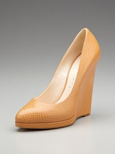 Embossed Leather Wedge Pump by Casadei on Gilt High Heel Pumps, Wedge Heels, Wedge Pump, Stilettos, Shoes Heels, Leather Wedges, Leather Heels, Cute Shoes, Me Too Shoes