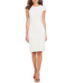 Betsey Johnson Emblem Jacquard Sheath Cap Sleeve Dress