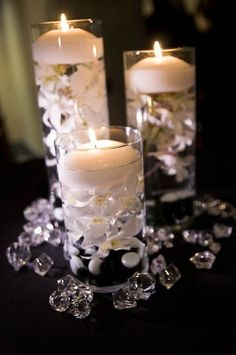 Non-flower centerpiece ideas | Pinterest | Water candle ...