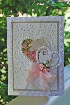 handmade birthday cards for women - Bing Wedding Shower Cards, Wedding Cards, Pretty Cards, Love Cards, Tarjetas Diy, Karten Diy, Engagement Cards, Wedding Anniversary Cards, Embossed Cards