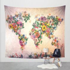 world map Wall Tapestry by Bekim ART | Society6