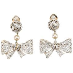 VALENTINO VINTAGE bow earrings ($580) ❤ liked on Polyvore