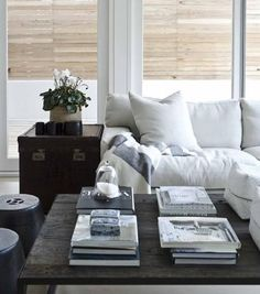 living rooms - white, sofa, glossy, trunk, table, rustic, brickmakers, table, black, garden stools, bamboo, roman shades, striped, white, gray, throw,