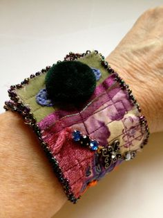 Frisky Furnishings Quilted Hand Beaded Velvet Lace Boho Cuff Bracelet with Sparkle by Laura Bundesen