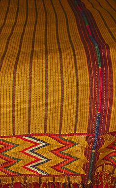 New! Yellow/Gold Handmade Zacualpa Bedspread & Two Matching Throw Pillow Set. Fabulous Yellow/Gold with a colorful woven band at the top and bottom. Cotton. Available in King or Queen Size Sets.