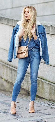 Angelica Blick dares to wear triple denim in this shirt, jeans, and shearling trim jacket outfit.   Jacket: Unknown, Jeans: Monki, Shoes: Zara.... | Style Inspiration