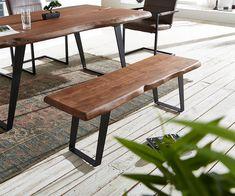 Sitzbank Live-Edge 135x40 Akazie Braun Gestell schräg Baumkante Möbel Stühle…