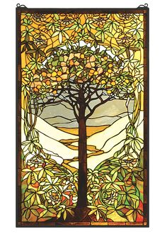 Meyda's interpretation of Louis Comfort Tiffany's Tree of Life window is made using hand cut glass individually wrapped in copperfoil. A beautiful selection of stained art glass in Neutral Tones of Be