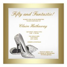 White Gold High Heels Womans 50th Birthday Personalized Invitation Party For Women