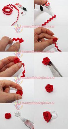 Como hacer un anillo de rosa con cinta de zig zag – Geschenkideen – Manualidades Ribbon Rosettes, Satin Ribbon Flowers, Felt Flowers, Diy Flowers, Fabric Flowers, Ribbon Crafts, Flower Crafts, Felt Crafts, Silk Ribbon Embroidery