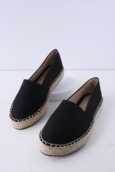 0e228d304fdc Phyne Black Slip-On Espadrille Flats. Black Canvas ShoesBlack ...