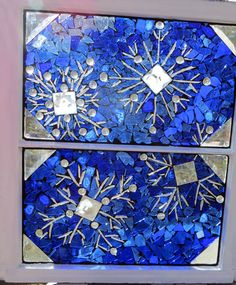 Snowflake+blue+sky+stained+glass+mosaic+window++by+HuckabaDesigns