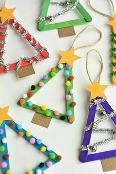 Preschool Christmas, Easy Christmas Crafts, Christmas Activities, Diy Christmas Ornaments, Christmas Projects, Simple Christmas, Homemade Ornaments, Christmas Tree Decorations For Kids, Homemade Christmas