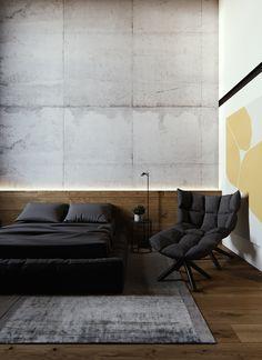 Moody Modern Industrial Interiors With Wood And Concrete Decor Cama Industrial, Modern Industrial Decor, Industrial Interiors, Industrial Apartment, Loft Interior, Interior Exterior, Interior Design, Concrete Bedroom, Modern Bedroom