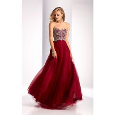 Clarisse 3012 Formal Gown Long Strapless Sleeveless ($338) ❤ liked on Polyvore featuring dresses, gowns, formal dresses, marsala, long formal dresses, strapless dress, red glitter dress, strapless long dresses and long prom dresses