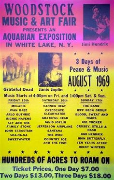 Woodstock 1969 - - being a toddler at the time, I wouldn't know any better, but I'm still shocked to see several of these bands listed. If they weren't in the movie (Like the Dead, who thought they sucked that night) they weren't there... did you know half of these bands played at like 3 am and Jimi Hendrix played the Star Spangled Banner for only 30,000 of the original 400,000 at about 9:00 on a Monday morning? Led Zeppelin was actually invited but turned it down.