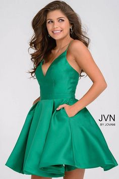 Jovani green fit and flare open back homecoming dress. - - Jovani green fit and flare open back homecoming dress. - Short Dresses - Jovani green fit and flare open back homecoming dress. - Prom Dresses - Jovani green f Dama Dresses, Hoco Dresses, Dresses For Teens, Dresses For Work, Formal Dresses, Sexy Dresses, Quinceanera Dresses, Summer Dresses, Dresses Online