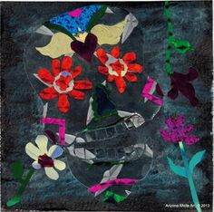 Day of the Dead Original Foil Collage 4x4 | ArizonaAhoteArt - Folk Art & Primitives on ArtFire