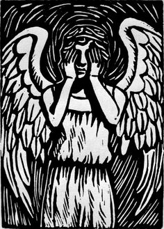Weeping Angel - block print by The-Tinidril