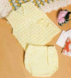 Croche pro Bebe: Coletinho e segura fraldas em croche