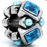 Blue Rhinestones Bead Charm Spacer For Snake Chain Charm Bracelet Antique Silver, Rings For Men, Pandora, Charmed, Pearls, Chain, Bracelets, Rhinestones, Snake