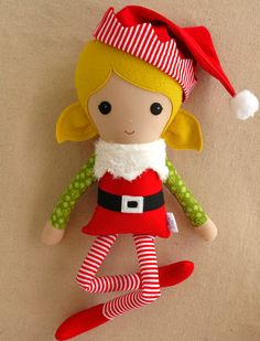 Reserved for Brandy Fabric Doll Rag Doll Elf Doll por rovingovine