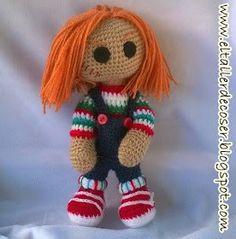 Chucky el Muñeco Diabólico Amigurumi - Patrón Gratis en Español aquí: http://eltallerdecoser.blogspot.com.es/2015/09/patron-de-chucky-muneco-diabolico.html