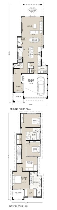 Horizon Exclusive Narrow lot home Narrow Lot House Plans, Dream House Plans, Modern House Plans, House Floor Plans, Duplex House, D House, Facade House, Duplex Design, House Design