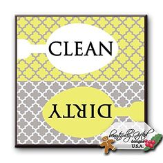 Clean Dirty Dishwasher Magnet Sign Best for Dishes  Cute Elegant Quatrefoil Moroccan Trellis Modern Pattern YELLOW GREY  25 x 25  Housewarming Bridal Registry  Gag Gift Idea Stocking Stuffers ** Be sure to check out this awesome product. Note:It is Affiliate Link to Amazon.