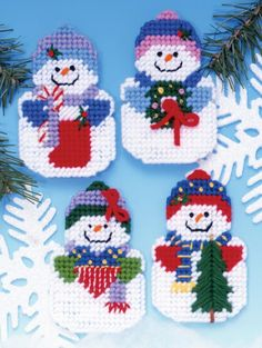 Snowmen with candycanes and wreaths
