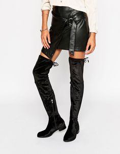 Glamorous Black Flat Over The Knee Boots