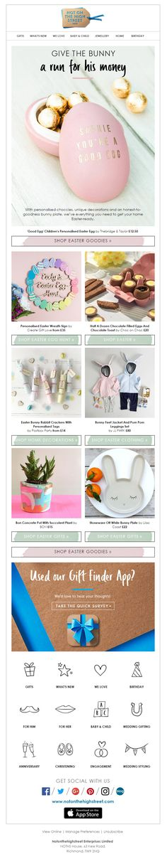Bradbeers department store easter product recommendations email easter email from notonthehighstreet emailmarketing email marketing gifts easter negle