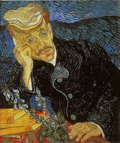 There are two authentic versions of this portrait, both executed in June 1890 during the last months of Van Gogh's life. Both show Doctor Gachet sitting at a table and leaning his head onto his right arm, but they are easily differentiated.