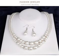 Occident and the United States alloy plating Necklace set Layered Pearl Necklace, Pearl Necklace Set, Necklace Sizes, Necklace Lengths, Prom Jewelry, Bridal Jewelry Sets, Cheap Jewelry, Bridal Earrings, Jewelry Box