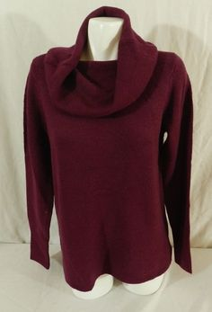 DKNY JEANS Womens Tunic Cowl Neck Pullover Sweater, Wine Burgundy Red NWT S #DKNY #CowlNeck