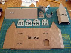 Happy At Home: Tutorial: Glitter House Fabriquer une maison à partir d'une boite en carton