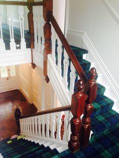 Tartan stairs, tartan runner, Black Watch tartan