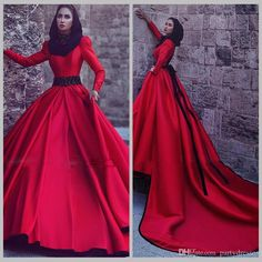 Discount 2017 Red Full Sleeve Muslim Wedding Dress With Detachable Train High Neck A Line Satin Vintage Dreses Long Vestido De Noiva Curto Latest Wedding Gown Mature Wedding Dresses From Partydresses, $103.42| Dhgate.Com